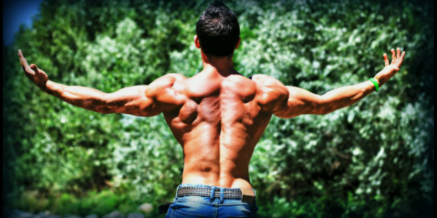 A man showing his back muscles